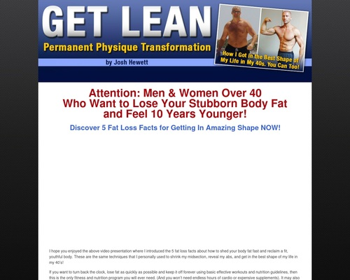 Get Lean – Permanent Physique Transformation e-book by Josh Hewett